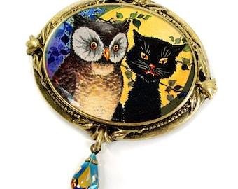 Owl Pin, Cat Pin, Halloween Pin, Halloween Brooch, Halloween Jewelry, Owl Jewelry, Cat Jewelry, Cat Brooch, Owl Brooch, Brooch, Pin P324