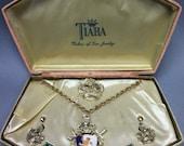 MIB Enameled CREST & Crown Necklace, Pin, Earring Set, Original Presentation Box, Vintage 1950's STEAMPUNK