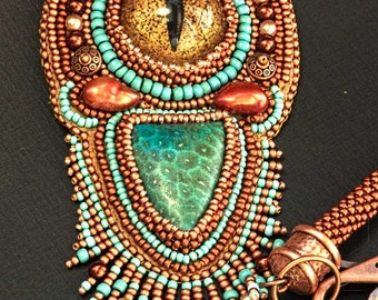 Dragon Eye - Seed bead embroidered necklace in turquoise and copper