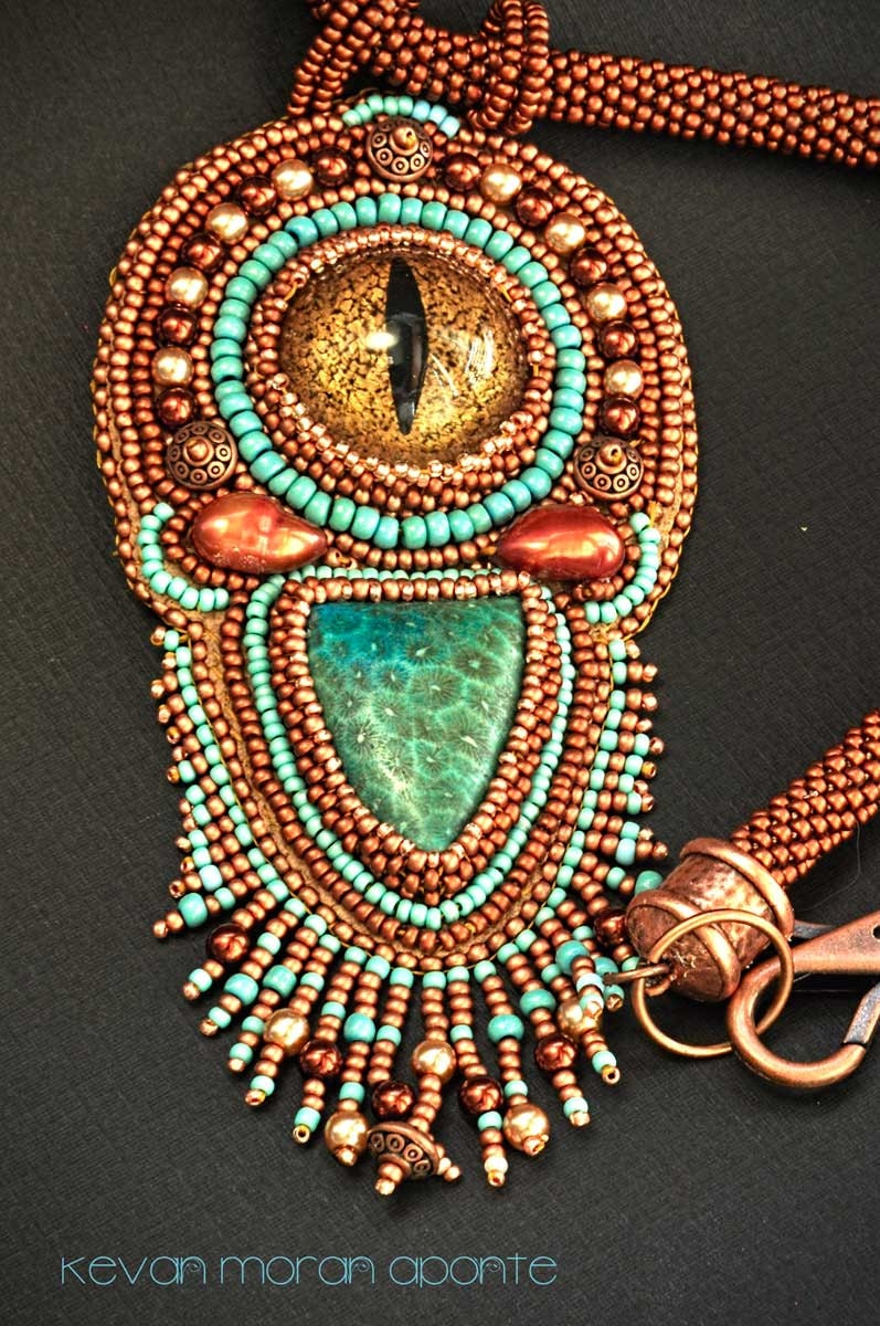 Dragon eye seed bead embroidered necklace in turquoise and