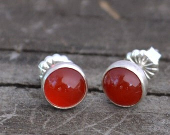 carnelian and sterling silver stud earrings