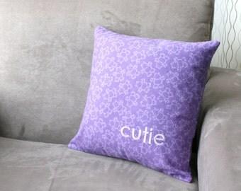 handmade decorative pillow - cutie - hand embroidered pillow cover, word pillow, modern nursery pillow, cute pillow with hippopotamus fabric