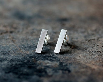 Silver Bar Earrings, Sterling Silver Post, Straight Line Earrings, Minimalist Jewelry, Recycled Silver, Eco Friendly Handmade Jewelry