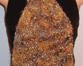 SALE Hand Knit Scarf Eyelash Lace Handpainted Nylon Fringed brown