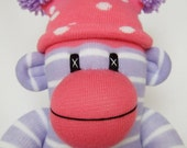 Pretty Pink & Lilac Stripe Sock Monkey (made to order)