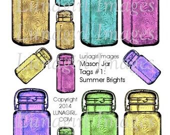 Mason Jars Floral Print TAGS digital DOWNLOAD collage sheet Bright Colors Vintage Pattern Printable gift tag cards crafts Beautiful ephemera