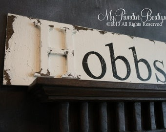 Vintage CUSTOM NAME SIGN, Shabby Chic Name Sign, Wedding Sign,  24 X 7.5