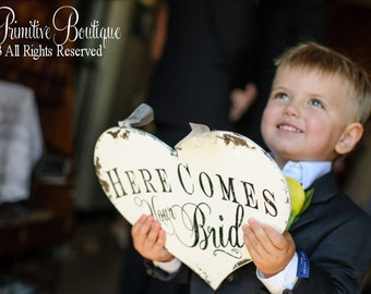 Here Comes Your Bride Sign | Ring Bearer Wedding Sign | Flower Girl Sign | Here Comes the Bride | Wedding Heart Sign | Signs for Ring Bearer