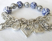 Blue and White Oriental Beads with Faux Pearl, Chain, Charms Stretch Bracelet