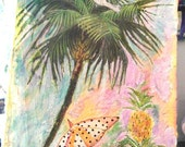 There's Always The Sunshine, Original Mixed Media, Painting, Watercolours, Collage, Palm Tree, Parasol, Pineapples, Cockatoo, Beach, Decor