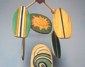 """Baby Mobile - Baby Crib Mobile - Wooden Surfboards """"Fun in the Sun Series"""" - Beach Nursery Decor - Surf Baby - Blue and Aqua"""
