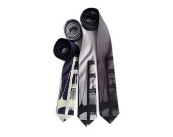 "Mackinac Bridge silk necktie. Michigan Upper Peninsula suspension bridge ""Big Mac."" Silkscreened tie. Your choice of color & size."
