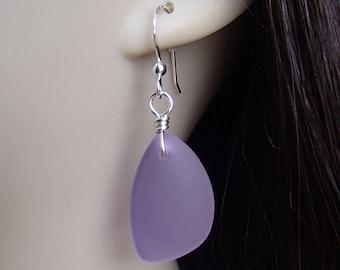 Sea Glass Earrings. Beach Glass Earrings. Purple Sea Glass. Purple Earrings. Cultured Sea Glass