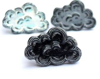 White, Silver and  Black Cloud Storm Cloud Ring Set - Mood Ring Set