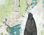 Bear Painting , Acrylic Painting Reproduction , Mixed Media Collage Print , Whimsical Giclee Art Print