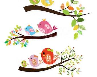 Cute Little Birds Sitting On a Branch