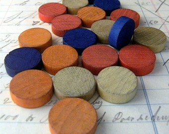 20 Vintage Color Mix  BINGO Markers Blank Wood