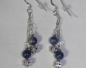 Sodalite and Pewter Earrings & Sterling Silver Ear Wires