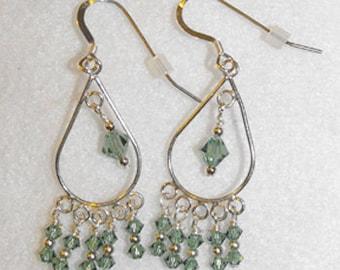 Pale Green Swarovski Chandelier Earrings & Sterling Silver Ear Wires