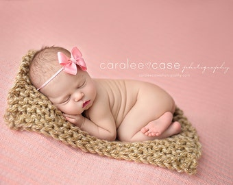 Soft Sand - Mini Prop Blanket - LIMITED EDITION tan neutral natural knit newborn photography prop basket filler