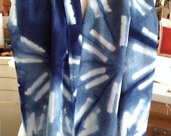 Sunbursts in Shibori & Indigo Rayon scarf