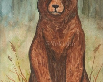 Original Art - The Emperor  - Watercolor Grizly Bear Painting -The Badgers Forest Tarot