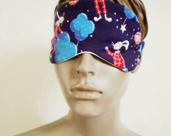 Rabbit Cotton Sleepmask Bedtime Bunny Print Navy Blue With Stars And Clouds Cute Handmade Eye Mask
