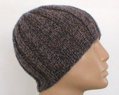 Men's ribbed beanie hat, skull cap, chemo cap, tan, taupe, charcoal, grey, tweed women's hat, knit hat, ribbed hat, biker hat, Made to Order