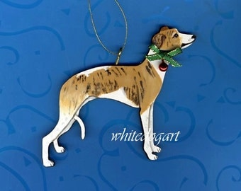 Custom Handpainted Whippet Christmas Ornament