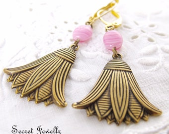 Pink Lotus Flower Earrings, Yoga Jewelry, Spiritual Jewelry, Floral, Lily Earrings, Natured Inspired Jewelry, Antique Gold Earrings