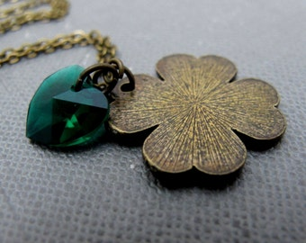 "SALE - Clover of Love II Necklace // Brass Good Luck Charm // Green Swarovski Crystal Heart // 17"" Brass Chain Necklace // Gift under 10"