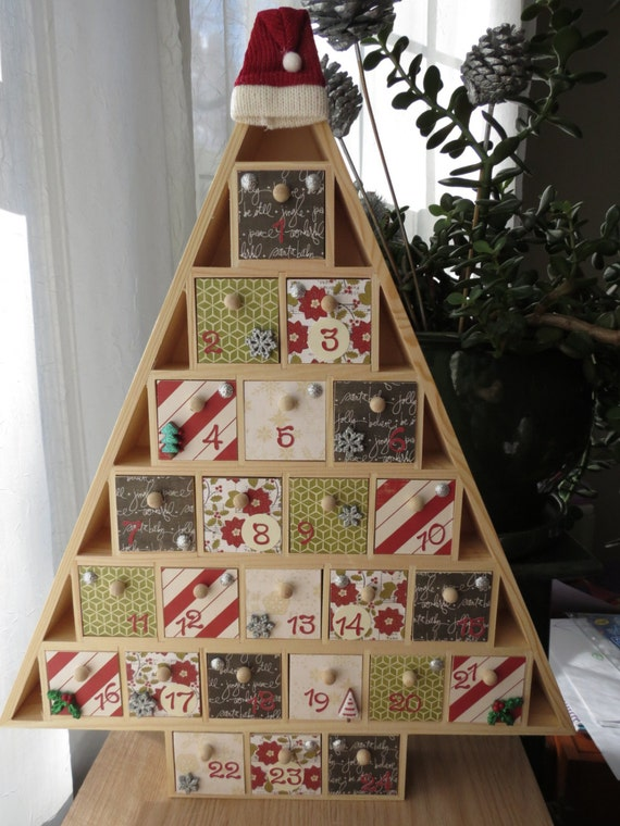 Christmas Tree Advent Calendar Wooden By Queenvannacreations
