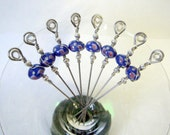 Stainless Steel Cocktail Appetizer Picks Set of 8 with Blue Pink and Yellow Swirl Lampwork Glass Beads