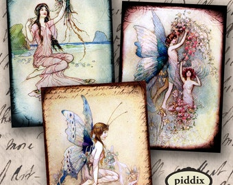 Victorian Fairies and Water Nymphs, Mermaids in ATC ACEO size 2.5 x 3.5 inch rectangles -- piddix digital collage sheet 890