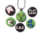 Lacrosse Necklace - Interchangeable Magnetic Jewelry - Lax Pendant for Lacrosse Player, Athlete, Lax Coach, Gym Teacher Gift