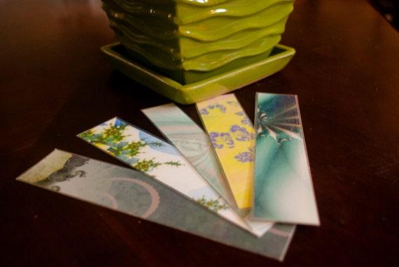 One of a Kind Fractal 'Slice' Bookmark Assortment - Spring Greens (set of 5)