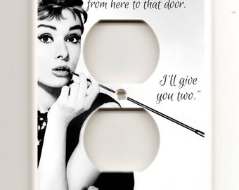 Breakfast at Tiffany's - Audrey Hepburn - Black and White  - Decorative Single Electrical Outlet
