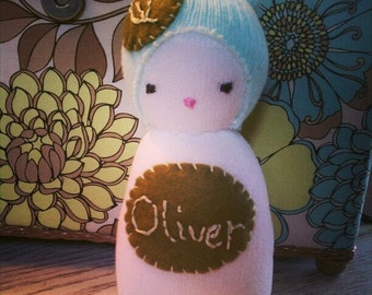 Chickabiddy sock rattle sock doll whimsical vintage heirloom OOAK keepsake toddler baby shower personalized