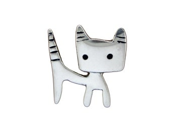 Tom-Tom Cat Necklace - Sterling Silver Tomcat Pendant