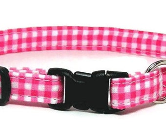 Cat Collar - Pink gingham - Breakaway Safety Cute Fancy Cat Kitten Collar