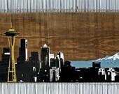 """Seattle Skyline Wall Art on Reclaimed Barn Wood - 10"""" x 30"""""""