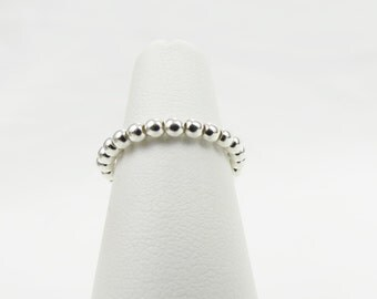 Sterling Silver Ball Bead Stacking Stretch Ring - Christian Jewelry  - Go-Go Collection