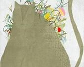Creature C - Art -Print of an original illustration -  children - cat - Flowers
