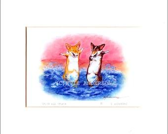 """Evie Anderson Pembroke Welsh Corgi Dog Art SIGNED PRINT """"Splish and Splash""""  (signed, matted)"""