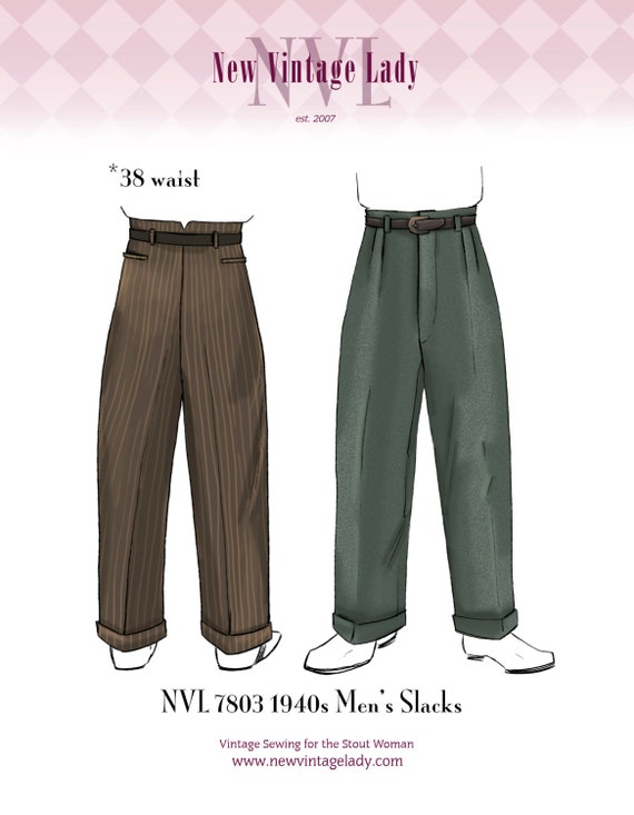 1940s Trousers, Mens Wide Leg Pants NVL 7803 1940s Mens Slacks pattern 38 waist $25.00 AT vintagedancer.com