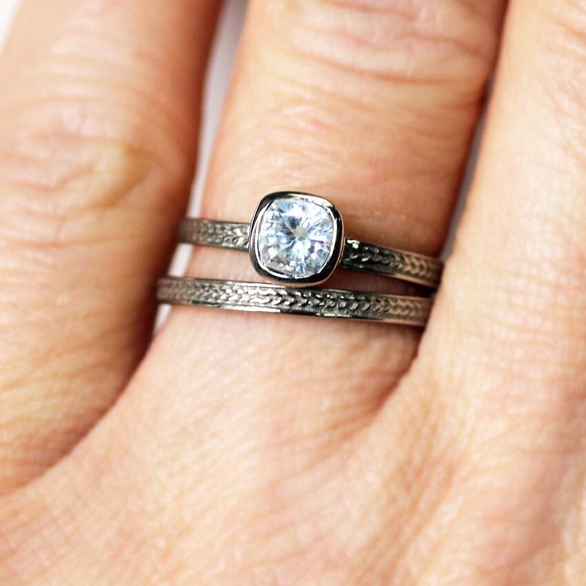 White gold engagement ring set forever brilliant moissanite