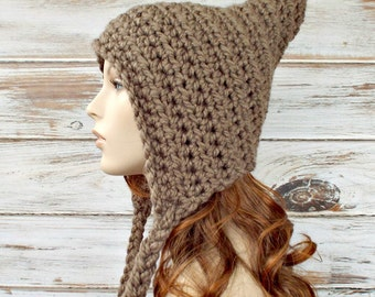 Crochet Hat Womens Hat - Crocheted Pixie Hat in Taupe Brown Crochet Hat - Taupe Hat Taupe Pixie Hat Womens Accessories - READY TO SHIP