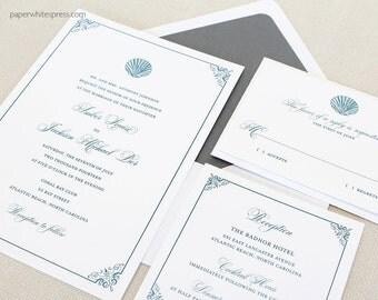 Seashell Wedding Invitations, Shell Wedding Invitations, Wedding Invitations,  Beach Wedding Invitations, Destination