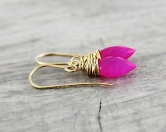 Hot Pink Earrings, Chalcedony Gemstone Earrings, Gold Fill Earrings, Bright Pink Earrings, Neon Pink Earrings, Wire Wrap Earrings, Dangle