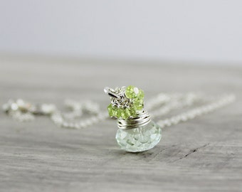 Green Gemstone Necklace, Light Green Necklace, Sterling Silver Necklace, Green Amethyst Necklace, Peridot Necklace, Wire Wrap Necklace